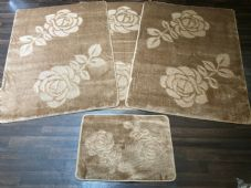 ROMANY WASHABLE TRAVELLERS MATS 4PC SETS NON SLIP REGULAR SIZES BEIGE/BROWN NEW